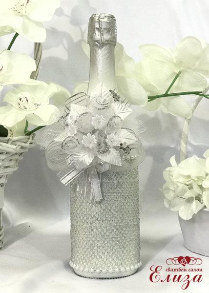 Украсено сватбено шампанско 11